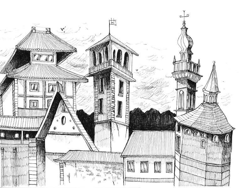 Dessin d'un château suréaliste au stylo noir