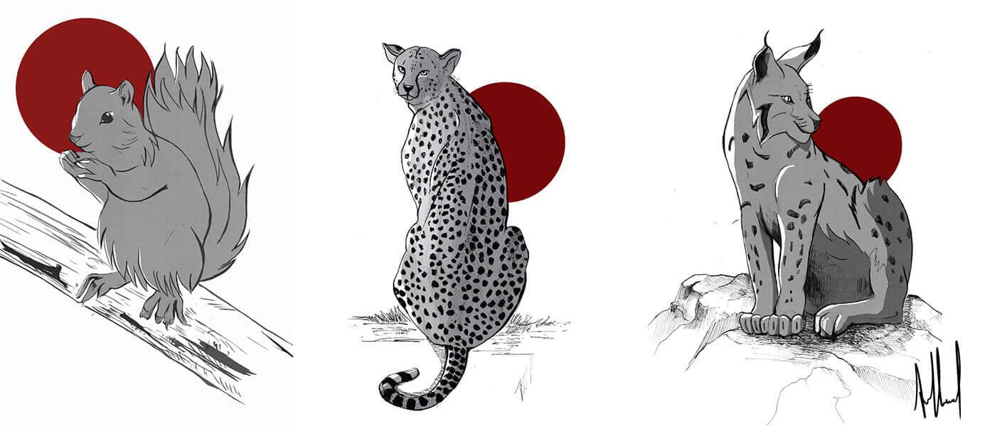Dessins d'animaux sauvages stickers décoratifs