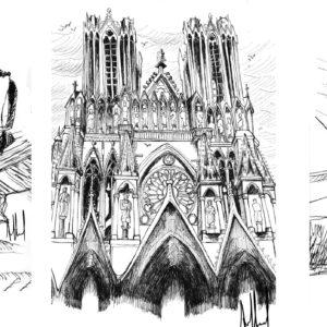 Dessin d'architecture et de décors à l'encre de chine