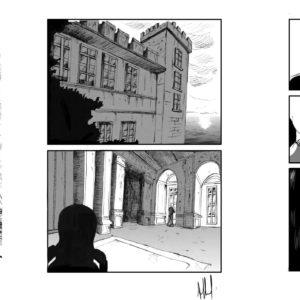 Composition dessins d'une planche de BD en noir et blanc