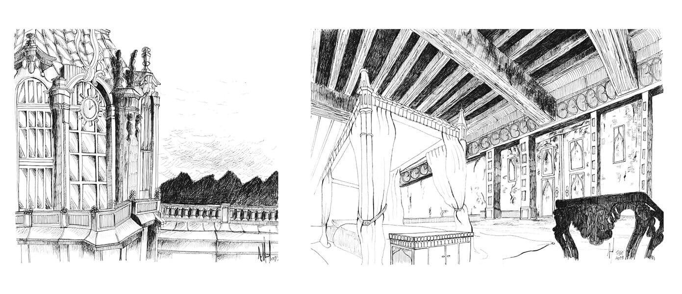 Dessins au stylo d'architecture pour un conte