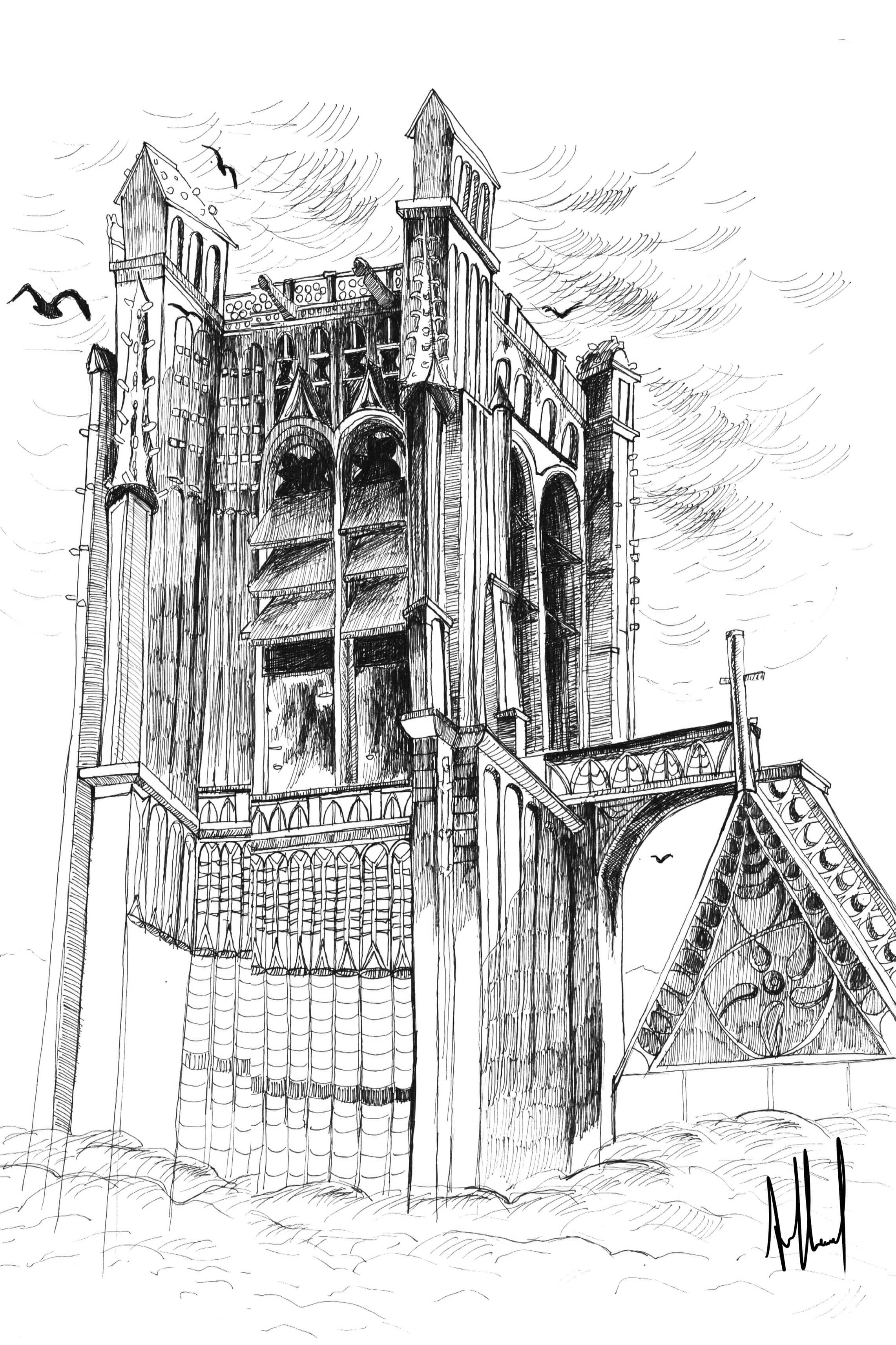 Dessin d'une cathédrale à l'encre de chine