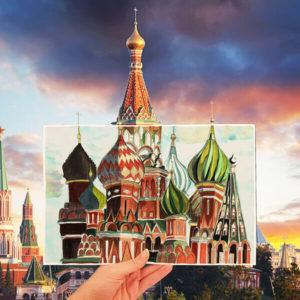 Dessin d'architecture Russe colorisé au crayon de la Place Rouge