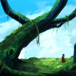 Dessin nature et personnage digital colorisé pour illustrer une musique