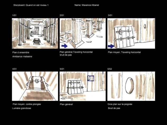 Planche de storyboard pour une websérie