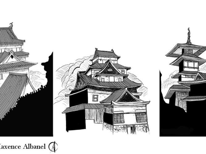 temple japonais encre de chine
